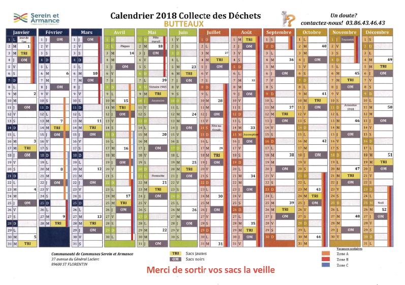 Calendrier tri 2018